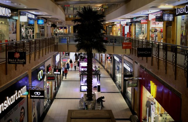 Few shoppers are seen inside a shopping mall amid a new virus outbreak in New Delhi, India, . For most people, the new coronavirus causes only mild or moderate symptoms. For some it can cause more severe illnessVirus Outbreak, New Delhi, India - 17 Mar 2020