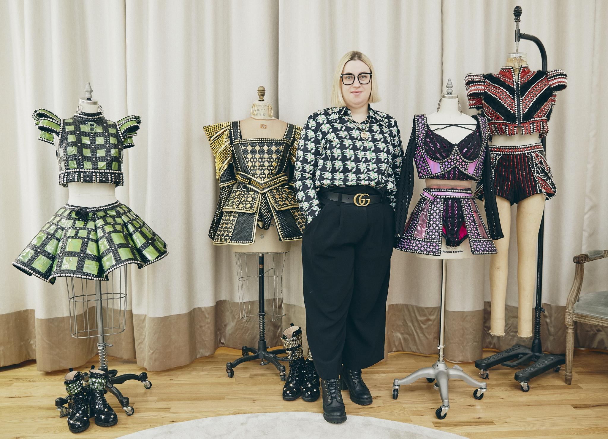 Six costume designer Gabriella Slade with her designs.