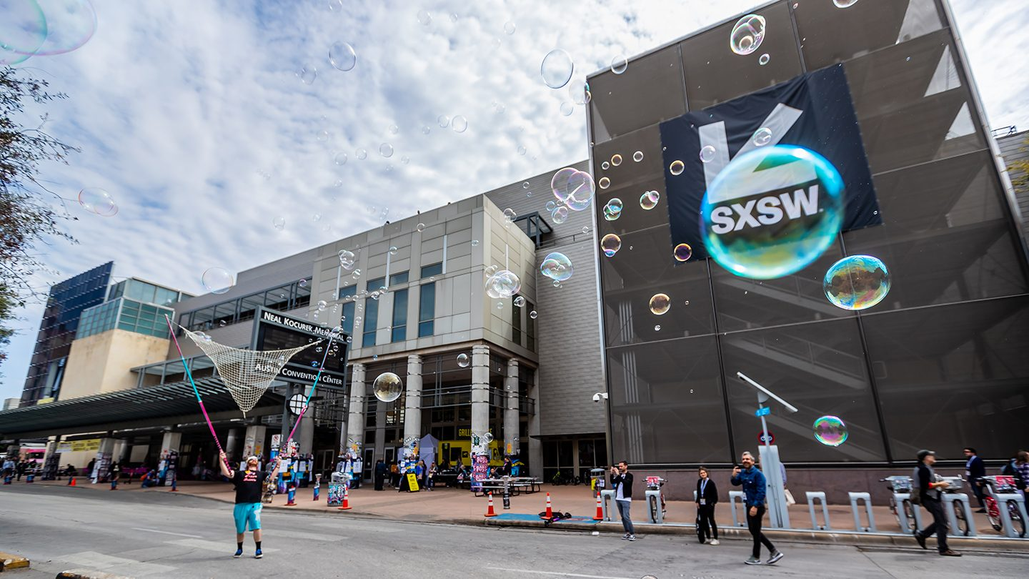 The Austin Convention Center, decked out for the SXSW music, film, gaming and tech festival.