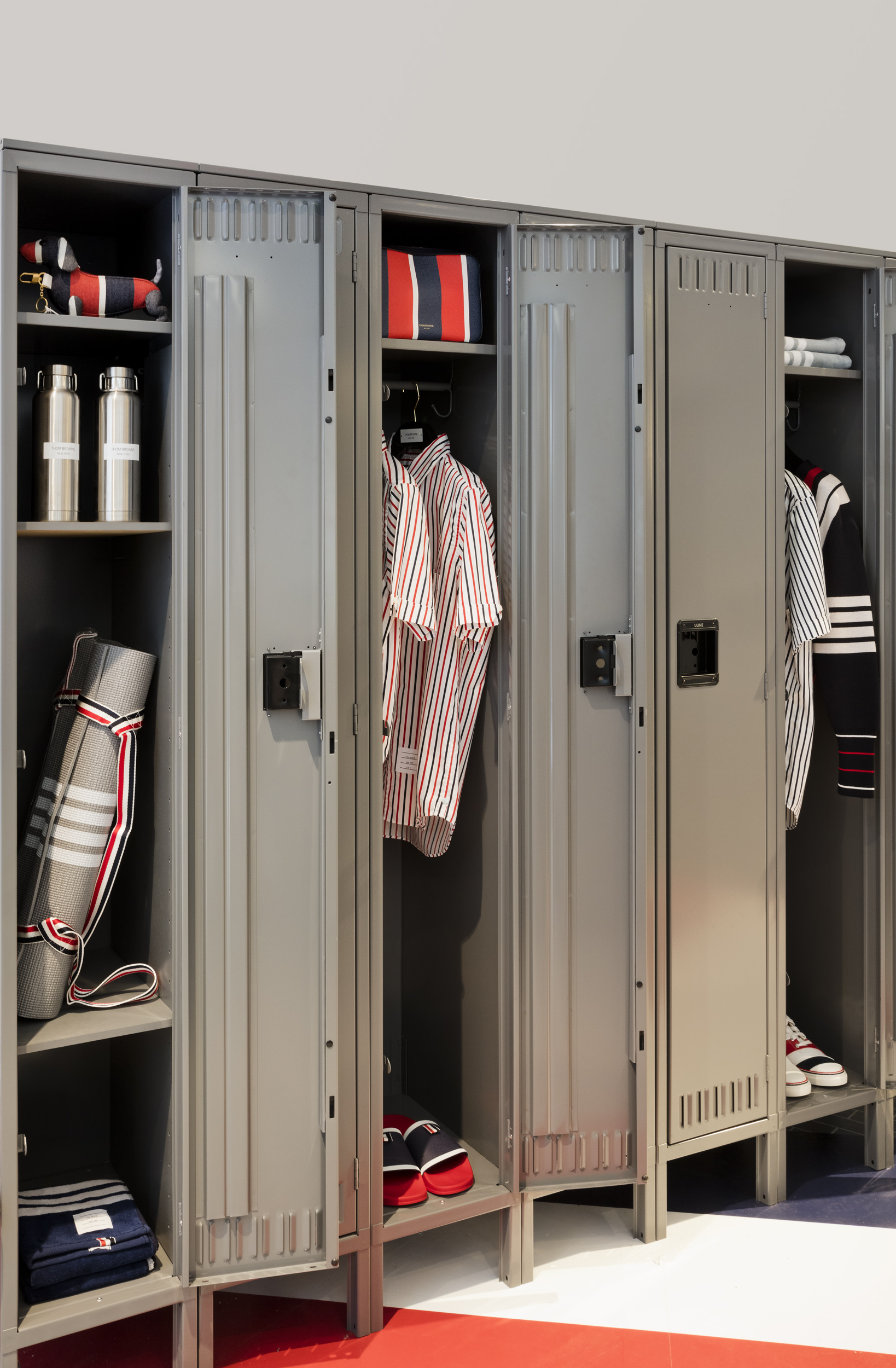 The Thom Browne locker room at the Nordstrom men's store.