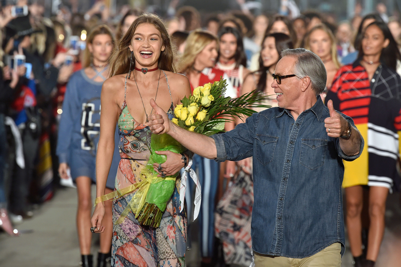 Gigi Hadid and Tommy Hilfiger on the catwalk