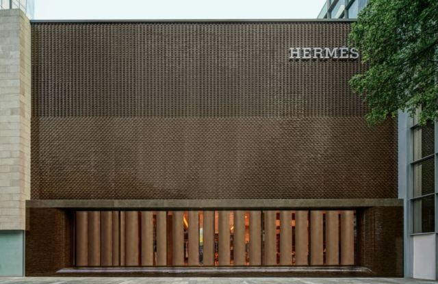 The exterior facade of the reopened Hermès Guangzhou store in Taikoo Hui.