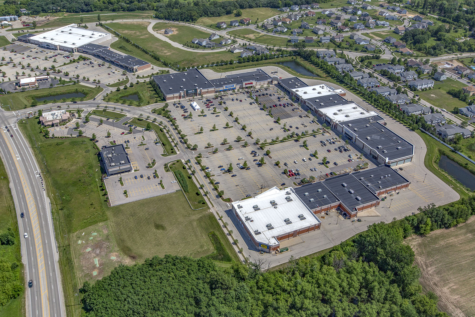 An aerial view of The Shops at Fox River in McHenry, Ill., owned by Time Equities.