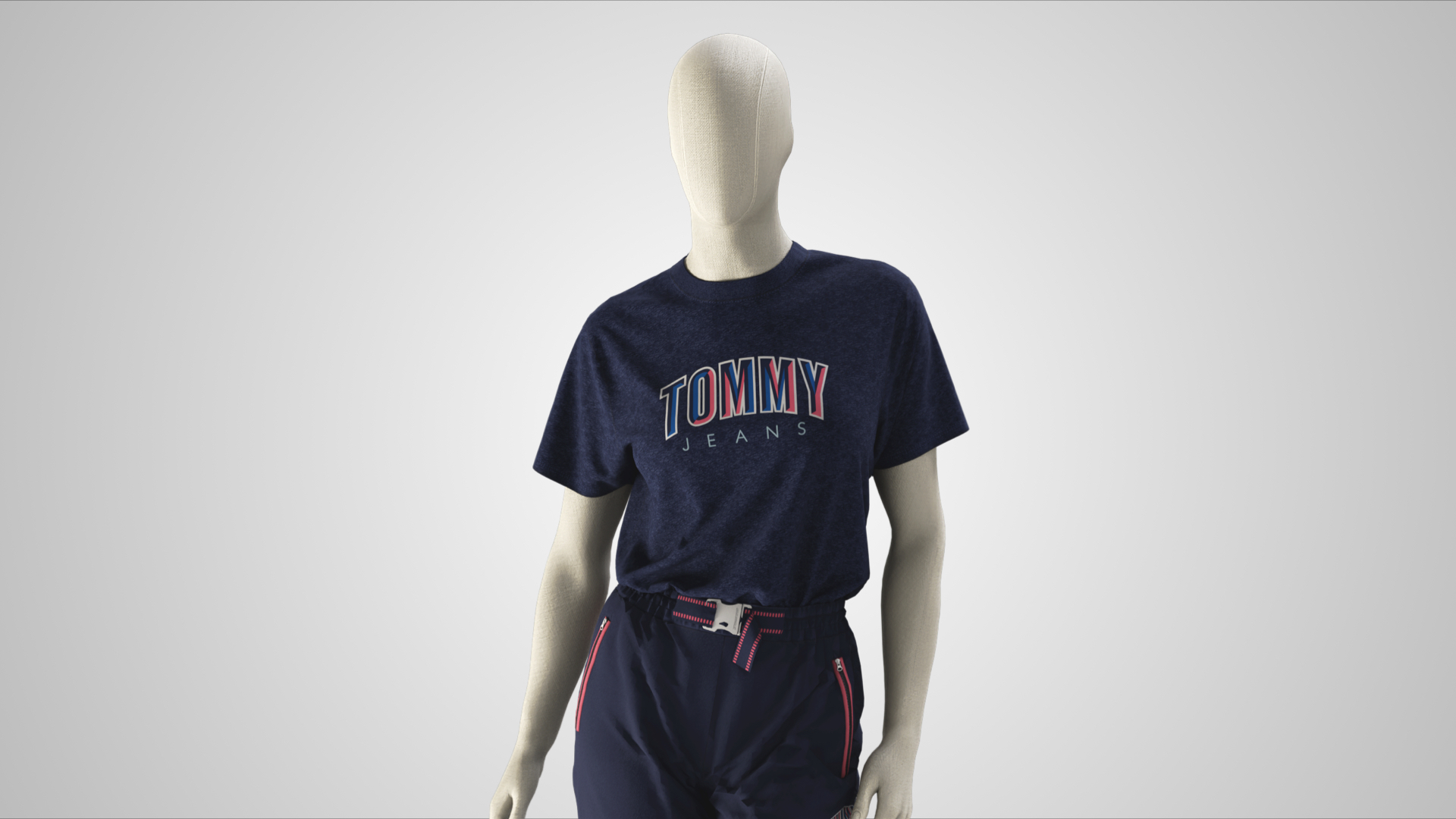 Tommy Jeans Girls key look designed and developed on an Avatar in 3D