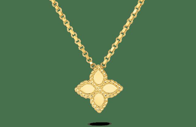 Roberto Coin's Princess Flower gold pendant.
