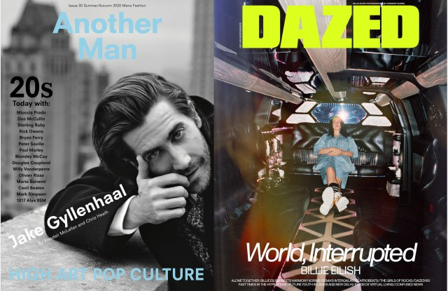 The cover of Another Man's spring/summer 2020 issue and the April 2020 issue of Dazed.