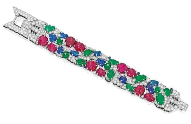 A Cartier Tutti Frutti bracelet sold online by Sotheby's.