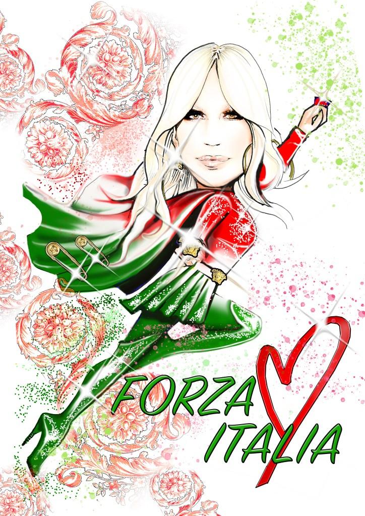 Donatella Versace's sketch for Vogue Italia's April issue
