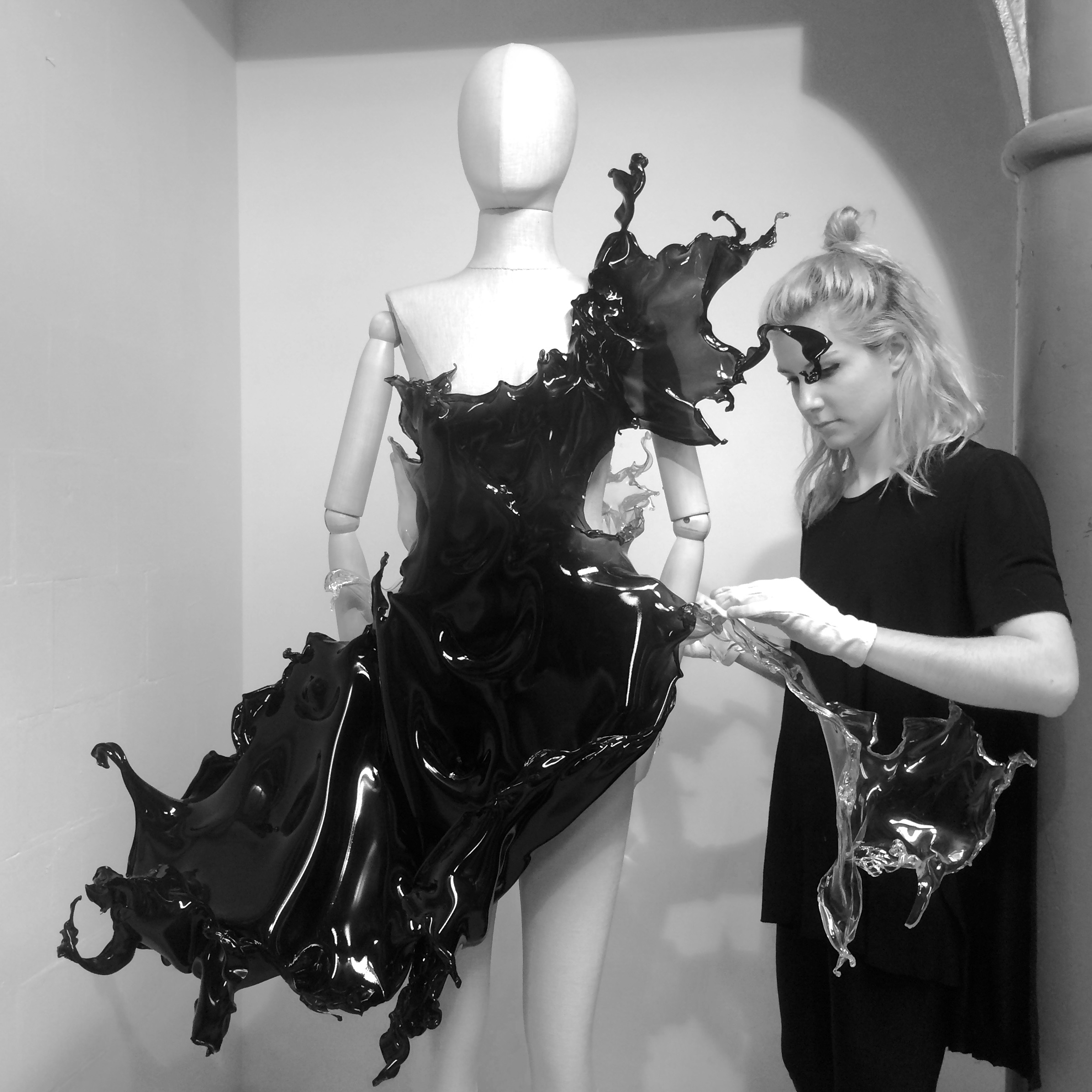 The atelier working on the 'Splash' dress in 2013. The project is a collaboration with Nick Knight and Daphne Guinness.