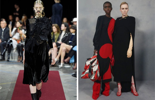 Givenchy's changing identity: Riccardo Tisci's elevated Goth, fall 2015; Clare Waight Keller's strong-shoundered chic, fall 2020.