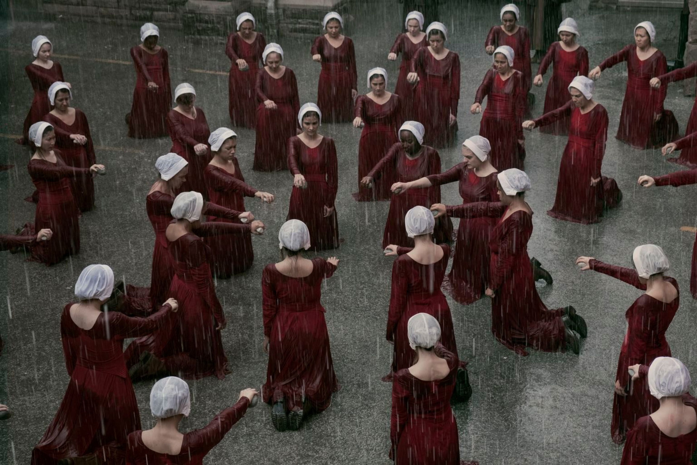Editorial use only. No book cover usage.Mandatory Credit: Photo by George Kraychyk/MGM/Hulu/Kobal/Shutterstock (10051644v) The Handmaid's Tale (2018) 'The Handmaid's Tale' TV Show Season 2 - 2018 Set in a dystopian future, a woman is forced to live as a concubine under a fundamentalist theocratic dictatorship.