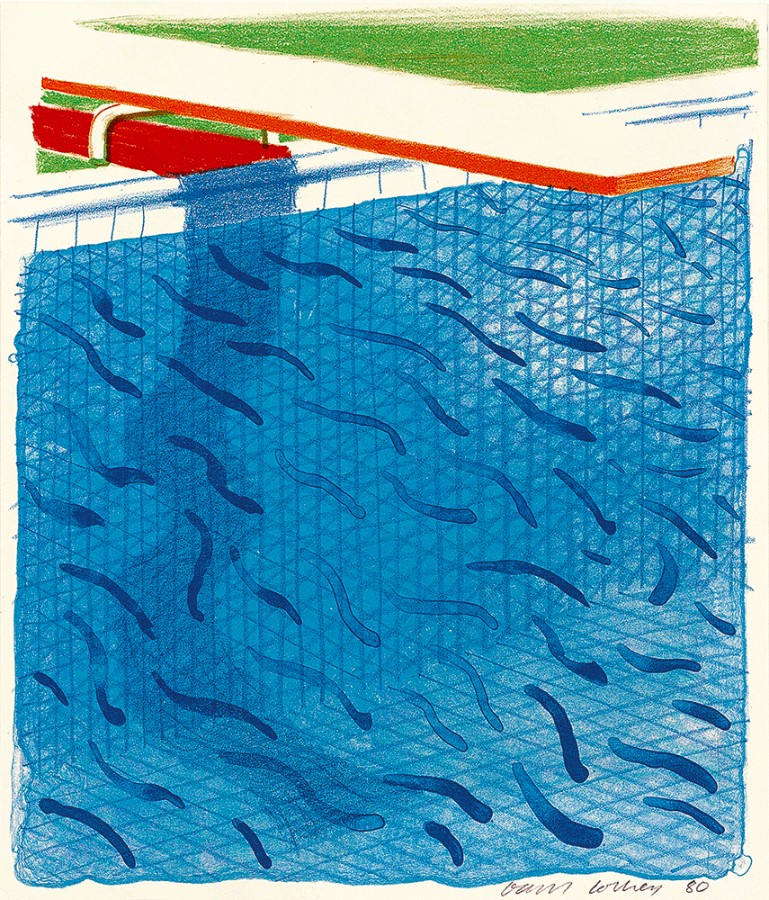 """David Hockney's """"Pool Made With Paper and Blue Ink for Book,"""" 1980."""