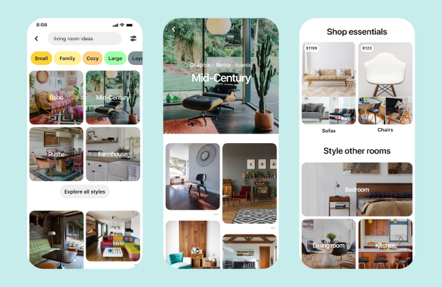Pinterest's latest shopping updates focus on interior design and fashion.