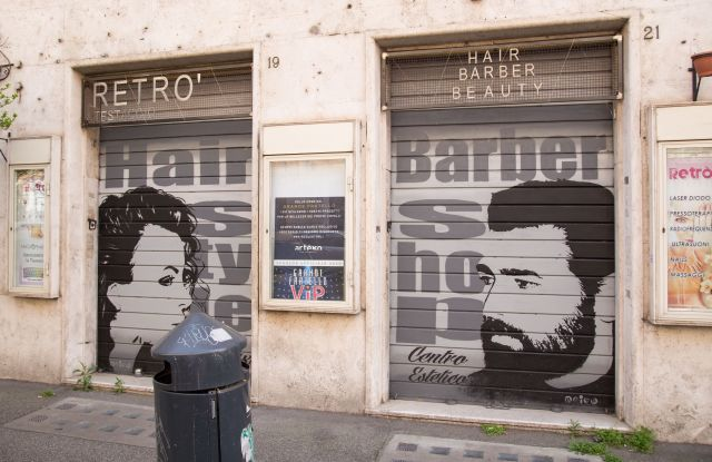 A closed Barber Shop in Testaccio district in RomeRome: Closed shops could reopen in coming weeks, Roma, Italy - 18 Apr 2020