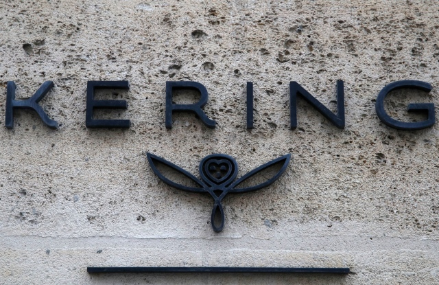 The logo of luxury group Kering is pictured at the company's headquarters in Paris.