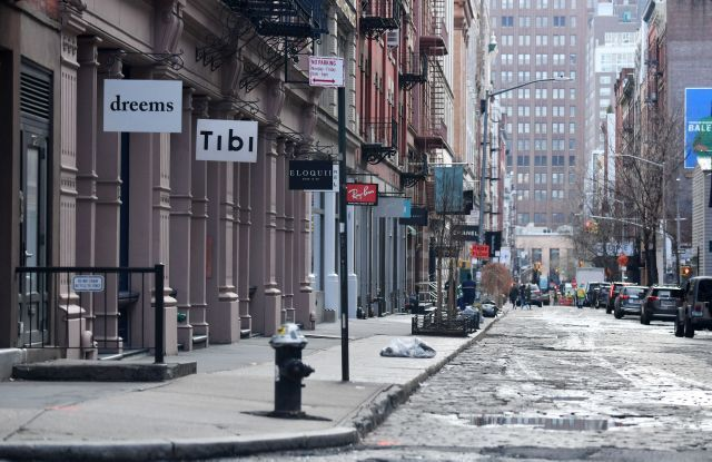 A city block in the SoHo section of New York City remains empty due to the Coronavirus outbreak.Coronavirus Outbreak, New York, USA - 17 Mar 2020