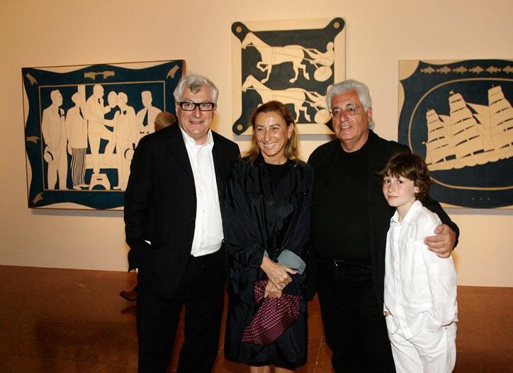 Patrizio Bertelli and Miuccia Prada with Germano and Argento Celant in Venice in 2009.