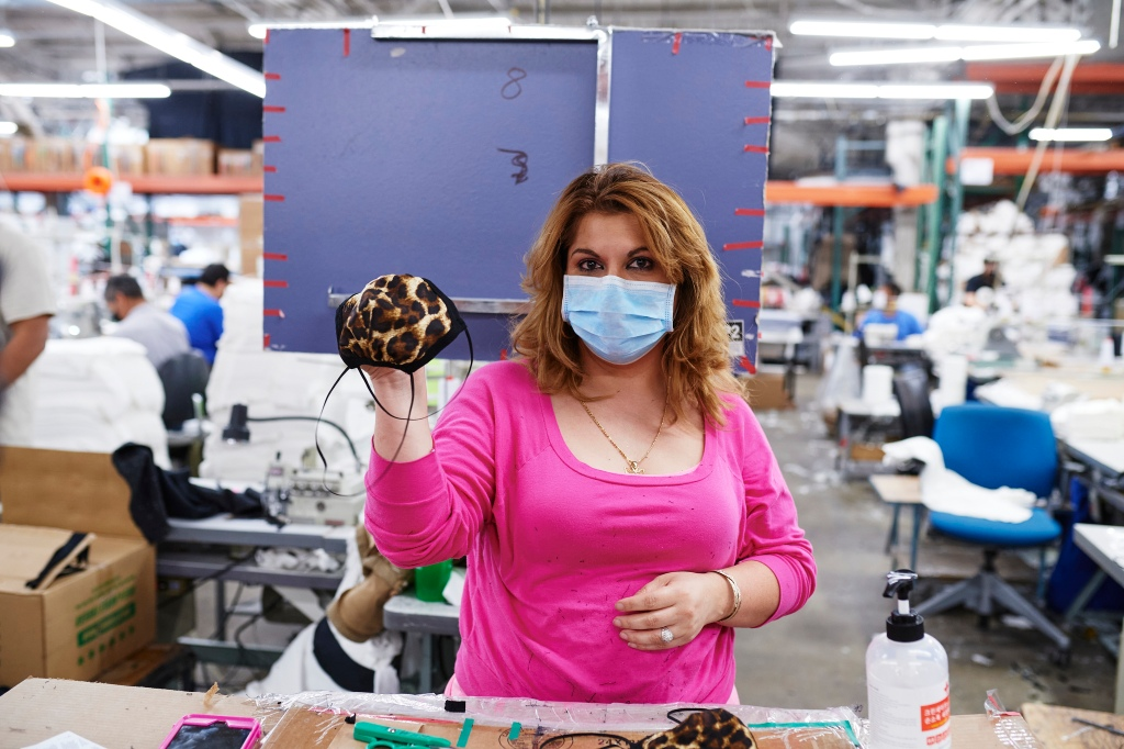 The Los Angeles Apparel facility has produced more than 100,000 non-medical masks.