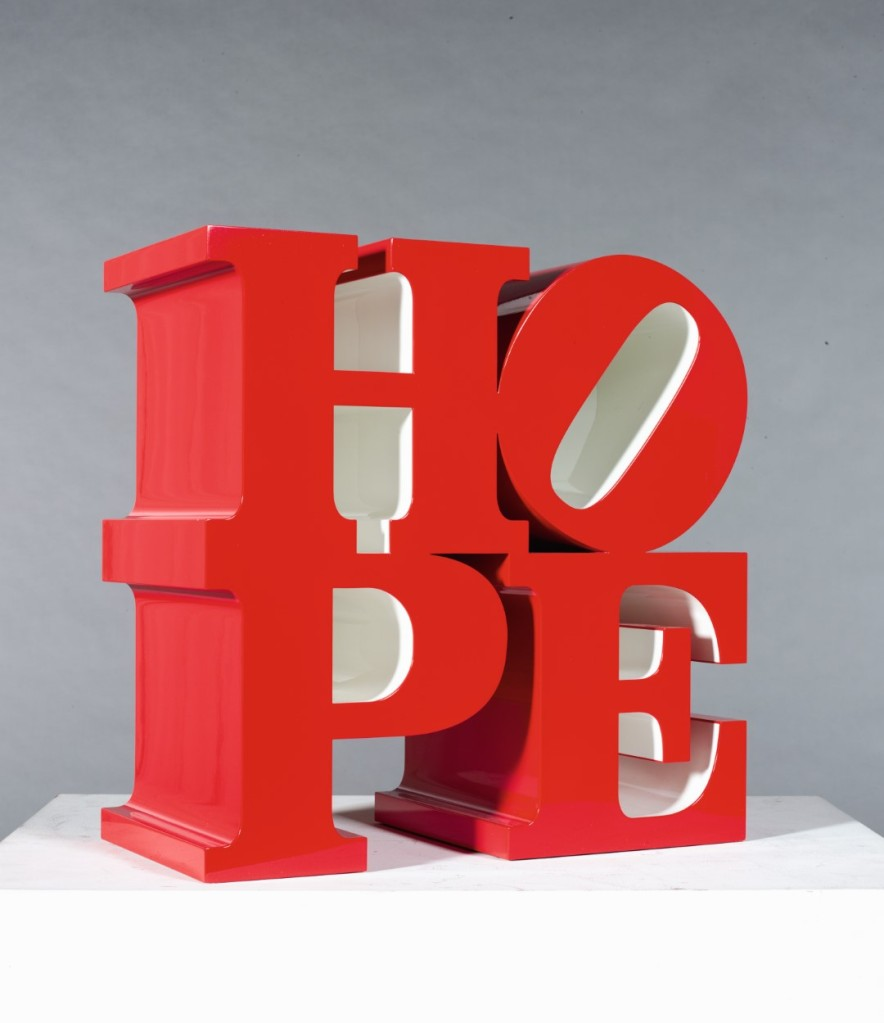 A piece by Robert Indiana featured in Missoni's 'Contemporary Curated' collection