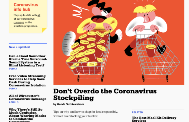 The homepage of Wirecutter, replete with coronavirus content.