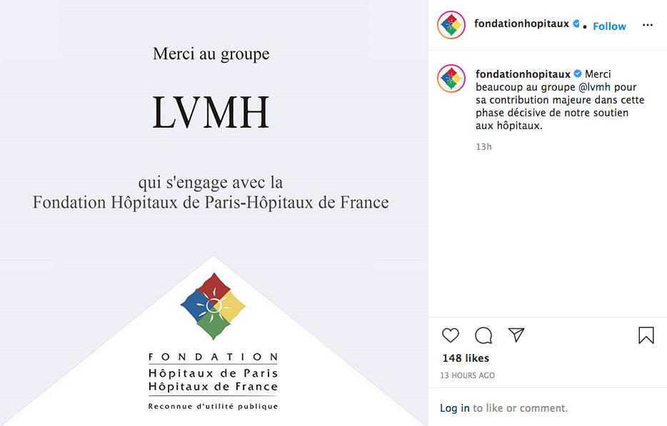 An Instagram post by the Fondation Hôpitaux de Paris — Hôpitaux de France thanking LVMH.