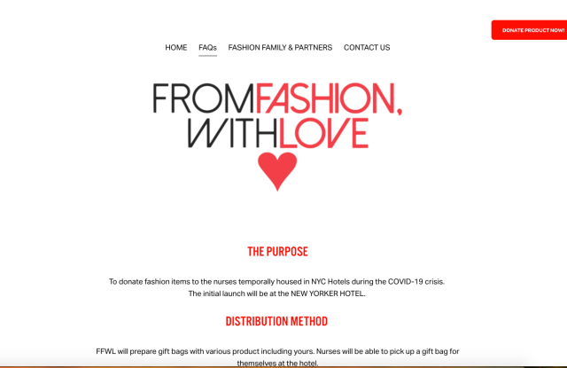 The home page of the From Fashion With Love web site.