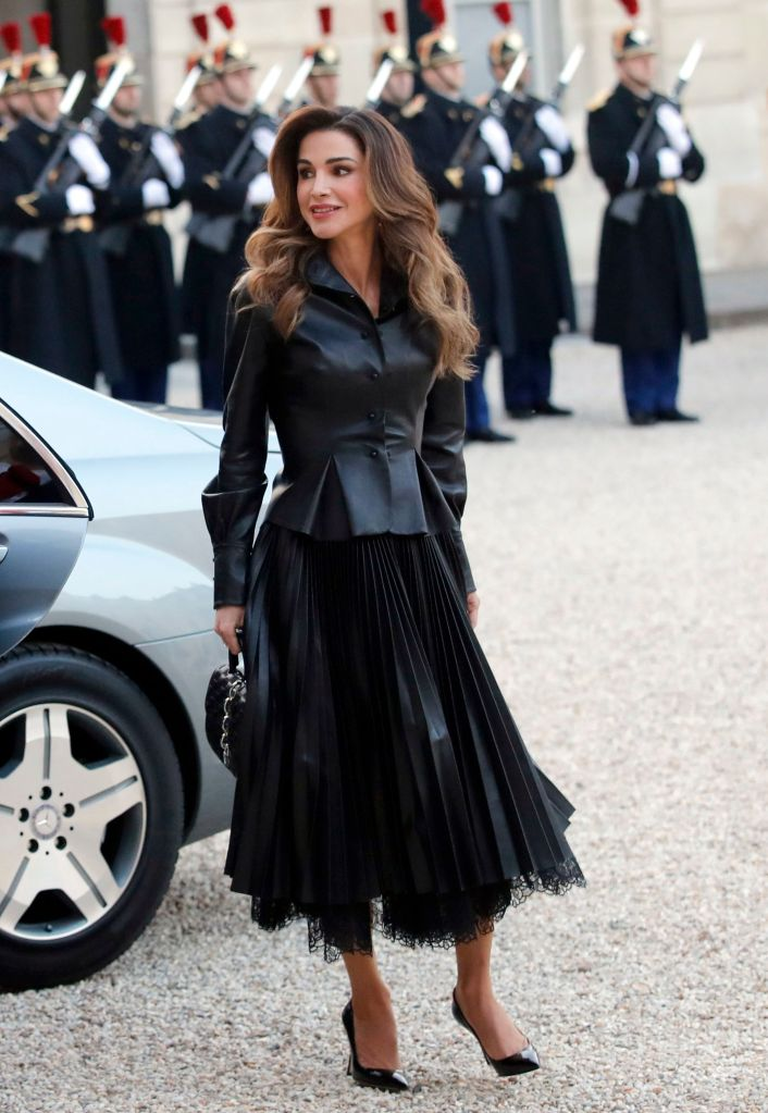 Queen Rania of Jordan arrives with King Abdullah II of Jordan for a meeting with French President Emmanuel Macron at the Elysee Palace in ParisJordan, Paris, France - 29 Mar 2019Rania Wearing Ermanno Scervino Same Outfit as catwalk model *9887891ax