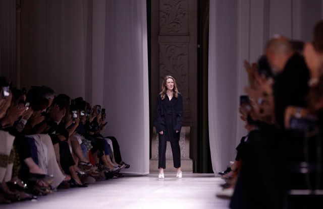 Designer Clare Waight Keller accepts applause at the end of the Givenchy Haute Couture Fall-Winter 2020 fashion collection presented in ParisFashion F/W 2020 Givenchy, Paris, France - 02 Jul 2019