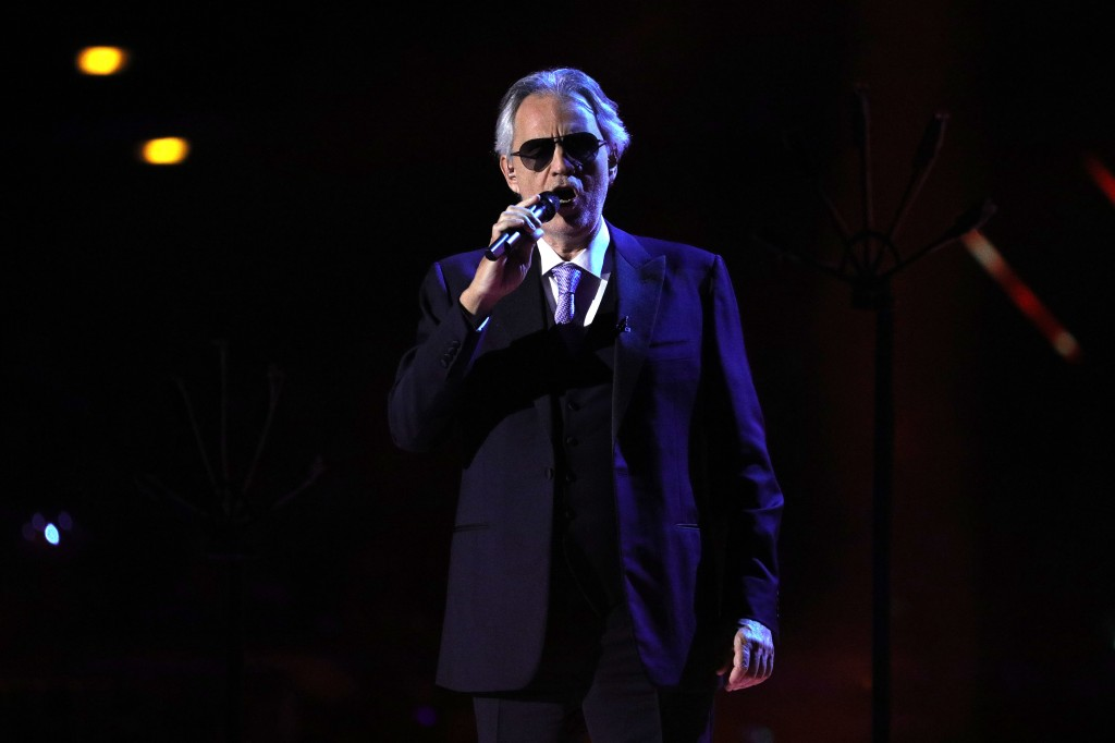 Andrea Bocelli on stage during the TV show 'Schlagerchampions 2020 - Das grosse Fest der Besten' (lit. The Big Festival of the Best) in Berlin, Germany, 11 January 2020.Schlagerchampions 2020 - The Big Festival of the Best in Berlin, Germany - 11 Jan 2020