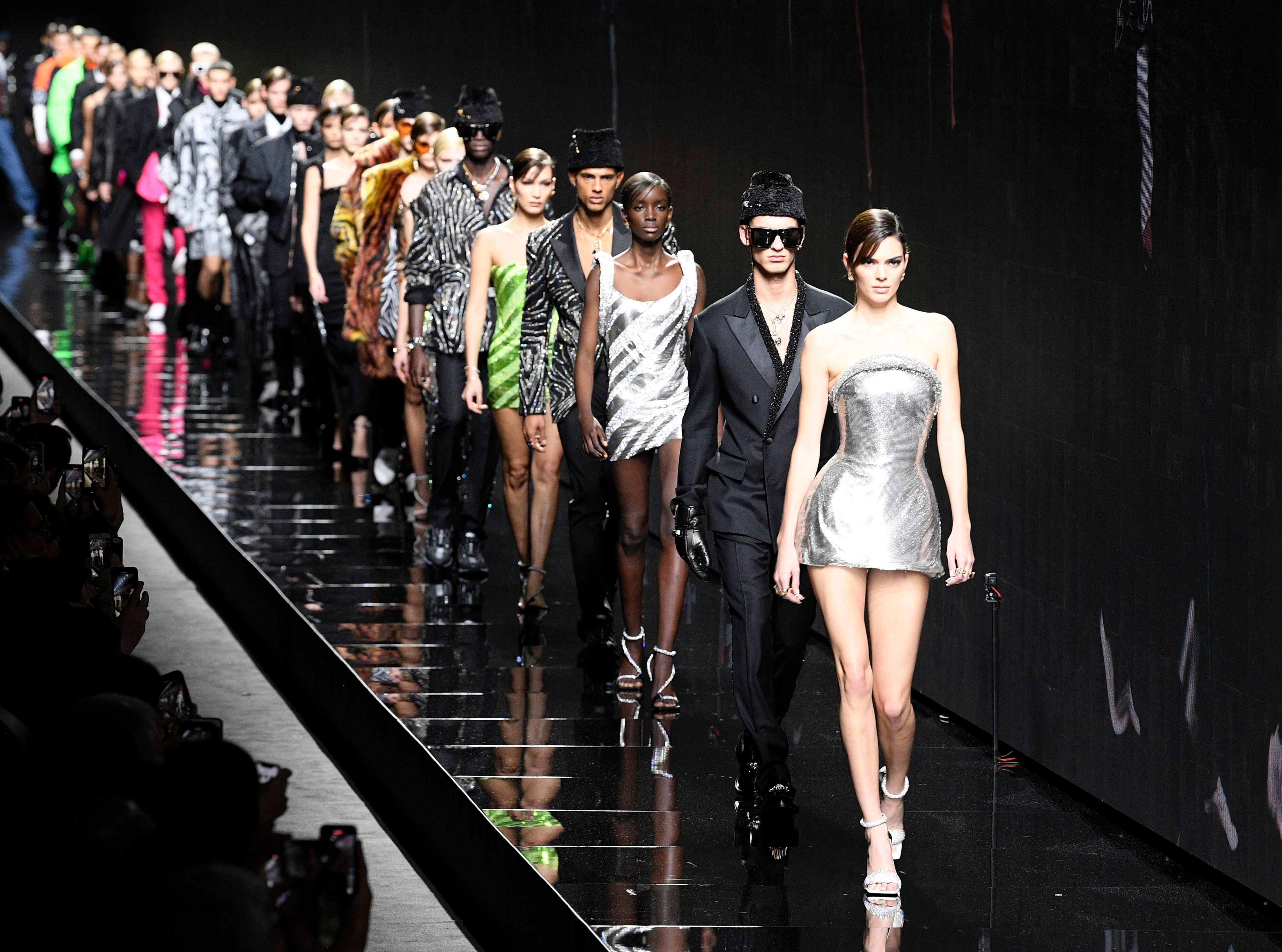 Kendall Jenner and models on the catwalkVersace show, Runway, Fall Winter 2020, Milan Fashion Week, Italy - 21 Feb 2020