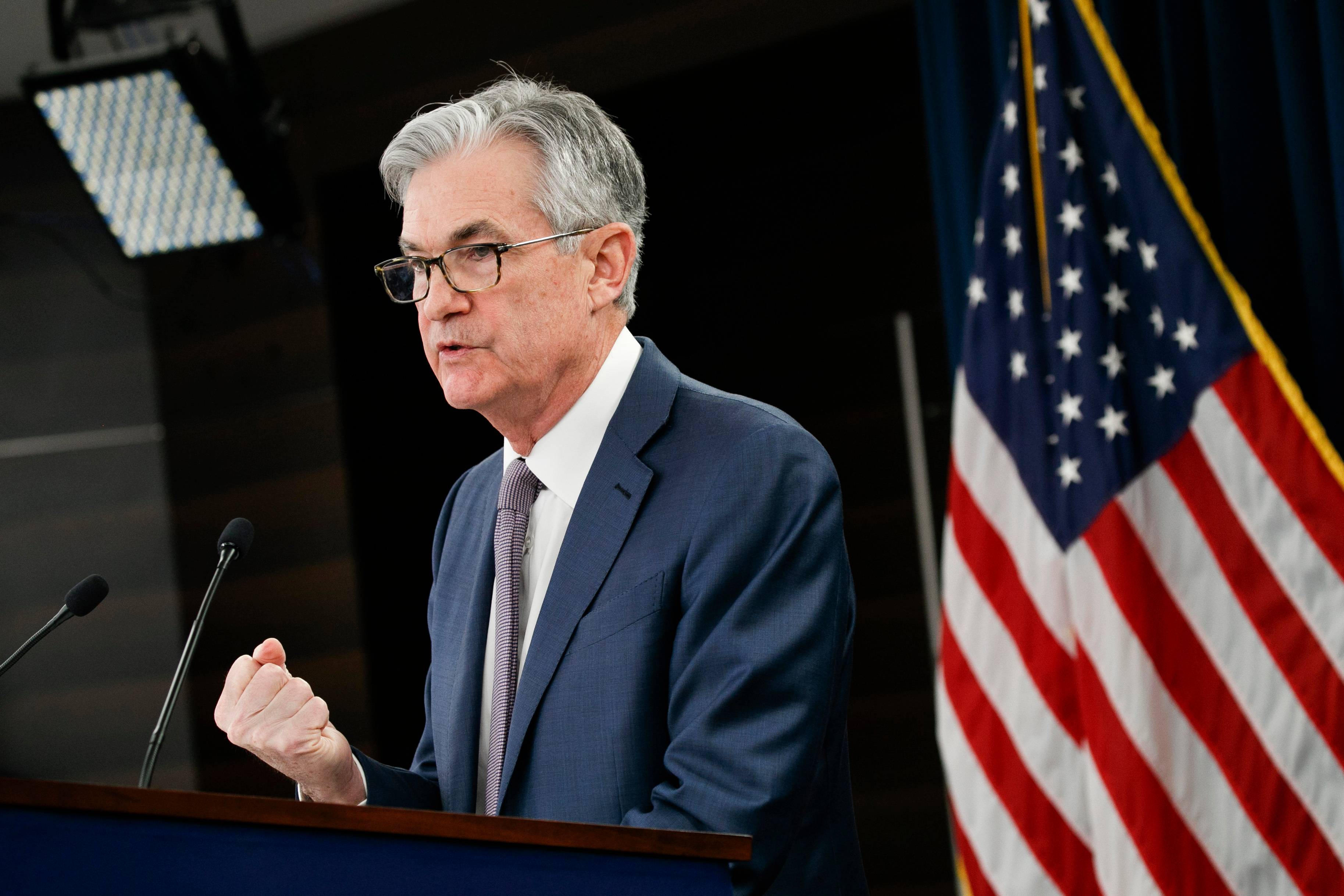 Federal Reserve Chair Jerome Powell with flag