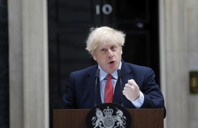 British Prime Minister Boris Johnson makes a statement on his first day back at work in Downing Street, London, after recovering from a bout with the coronavirus that put him in intensive care, . The highly contagious COVID-19 coronavirus has impacted on nations around the globe, many imposing self isolation and exercising social distancing when people move from their homesVirus Outbreak , London, United Kingdom - 27 Apr 2020
