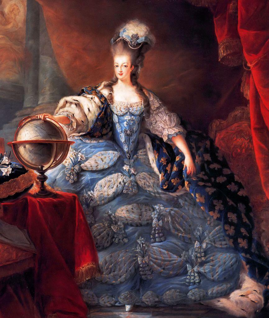 Marie Antoinette, Queen of France, in coronation robes by Jean-Baptiste Gautier Dagoty, 1775. Maria Antoinette 1755-1793)History