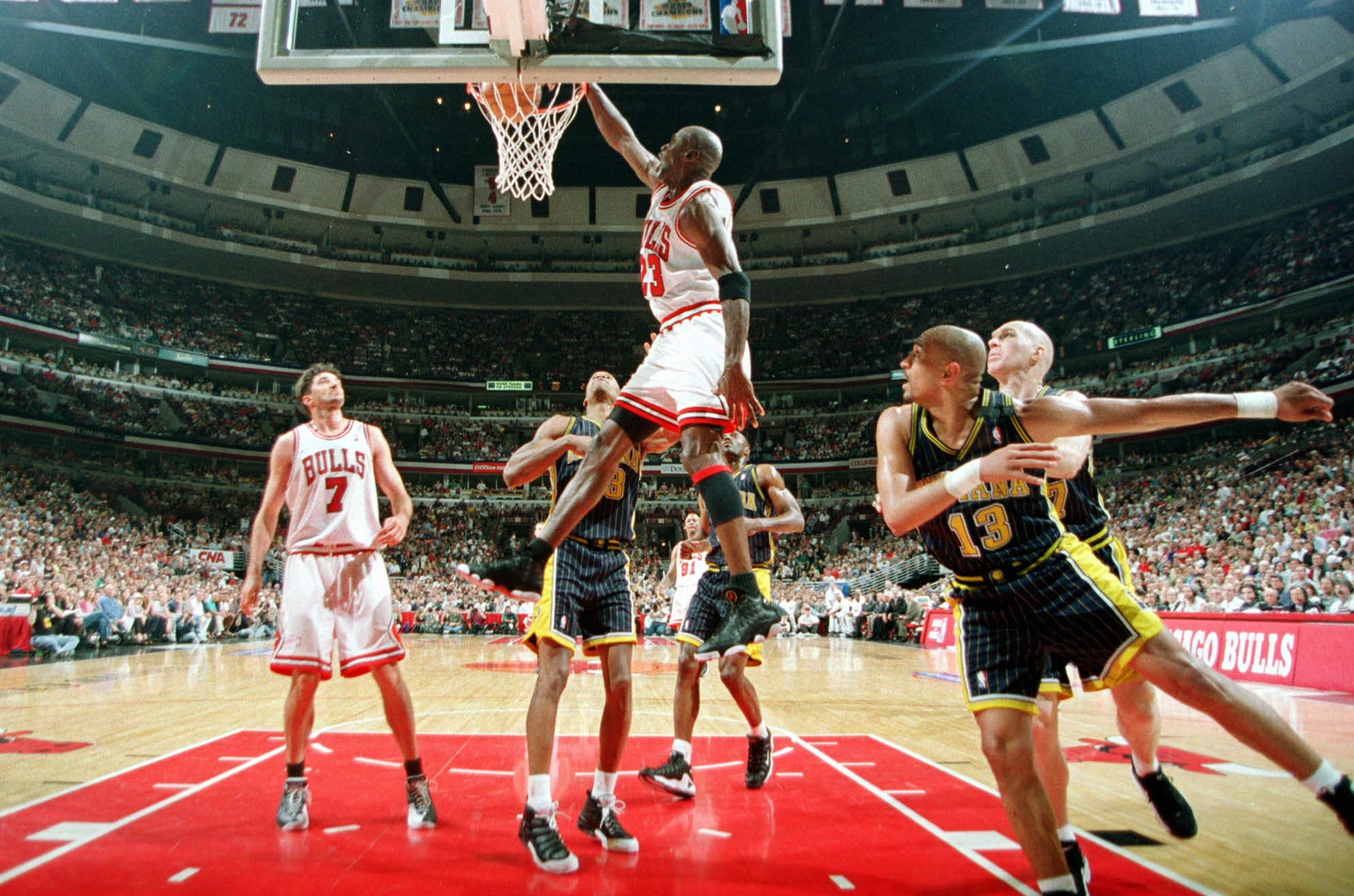 JORDAN Chicago Bulls Michael Jordan dunks for two against the Indiana Pacers during Game One of the Eastern Conference Finals, at the United Center in ChicagoPACERS BULLS, CHICAGO, USA