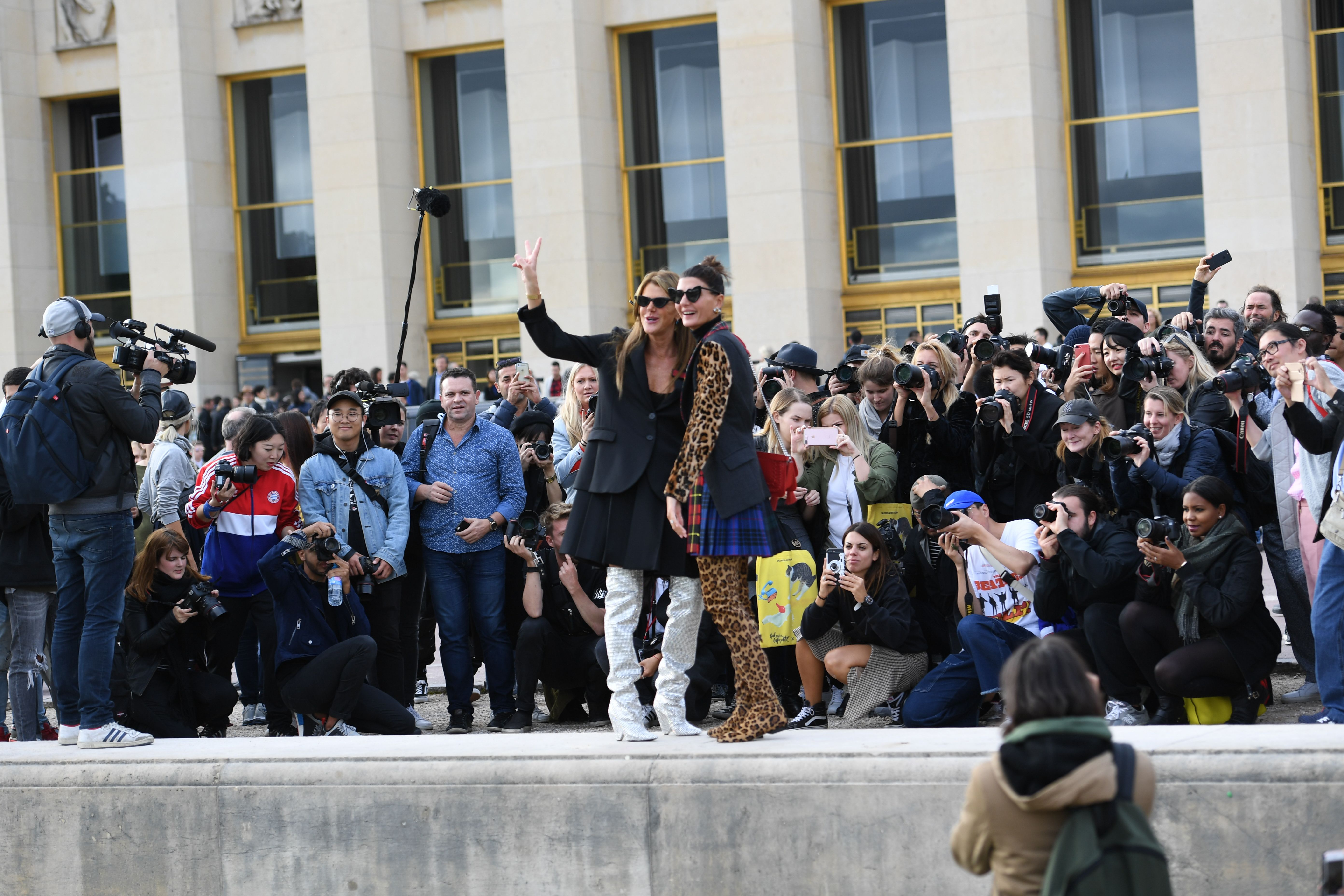 Anna Dello Russo and Giovanna BattagliaStreet Style, Spring Summer 2018, Paris Fashion Week, France - 02 Oct 2017