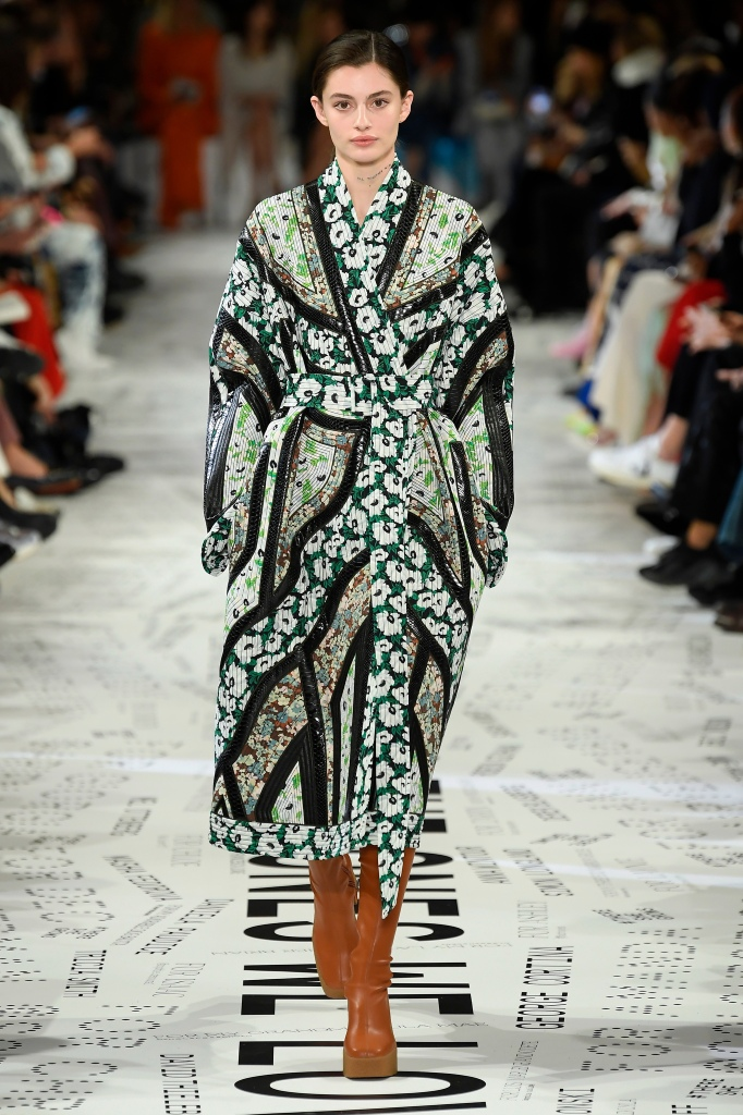 Upcycled chic was a theme of Stella McCartney's fall 2019 show. She crafted this coat from a collage of fabrics from past collections.