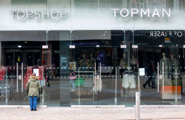 Top Shop in Leeds city centre has been closed due to the Covid 19 outbreak.Coronavirus outbreak, Leeds, UK - 21 Mar 2020