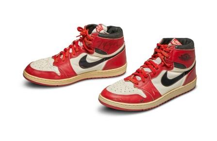 The game worn Air Jordan 1 sneakers from 1985