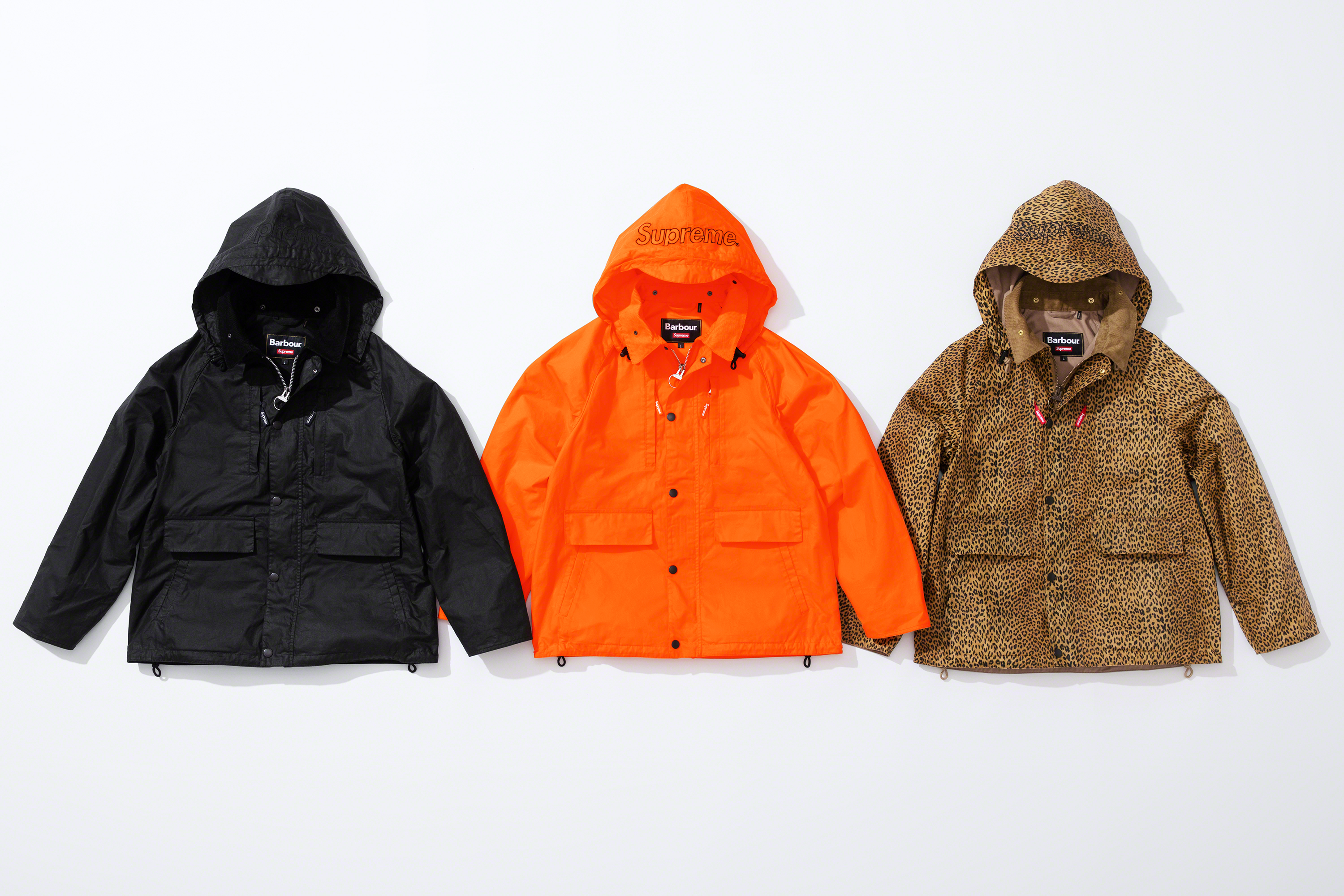 Jackets from the new Barbour collaboration with Supreme