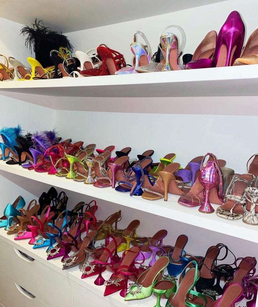 Amina Muaddi's shoe closet.