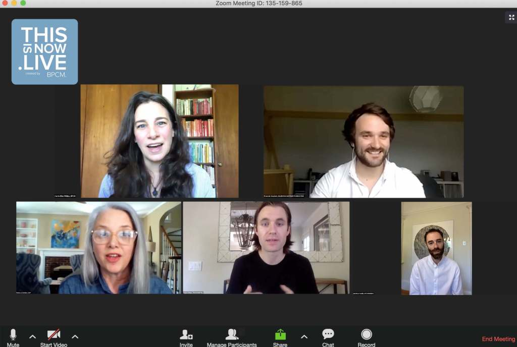 The first This Is Now Live webinar with BPCM co-founder Carrie Ellen Phillips (top left).