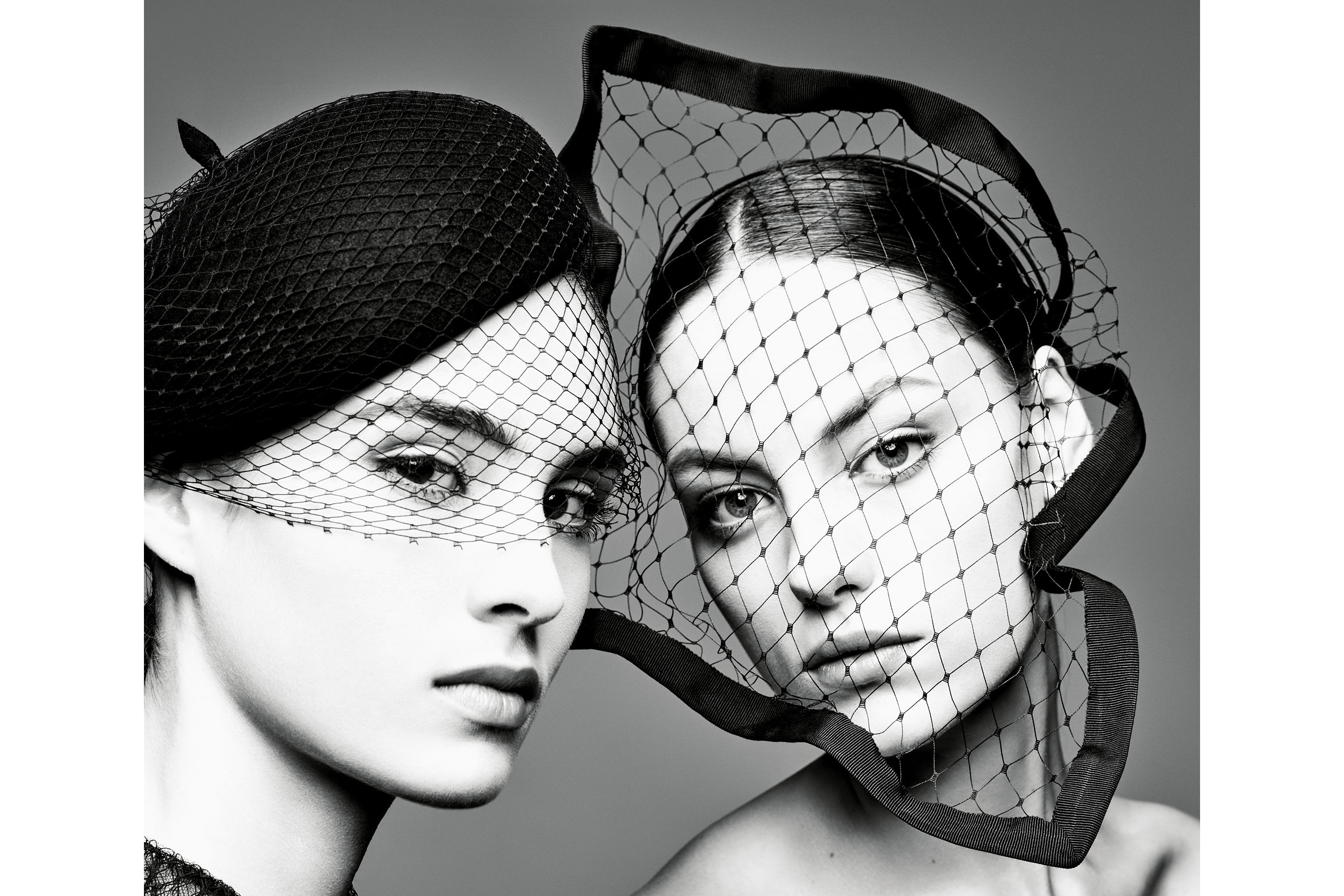 """Veiled beret, Numéro 157 design, Christian Dior fall–winter 2019 haute couture collection; """"handkerchief"""" veil edged with grosgrain, Insomnia design, spring–summer 2018 haute couture collection by Maria Grazia Chiuri."""