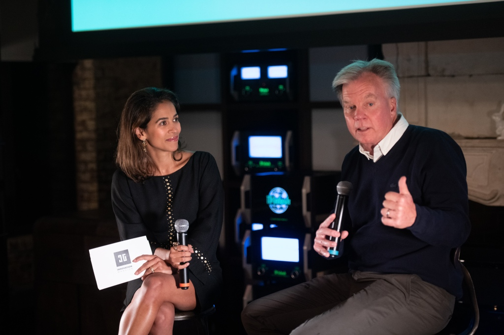 Liz Bacelar interviewing Ron Johnson at the Innovation Mansion during NRF BIG Show (ex-JC Penney CEO and founder of Enjoy)