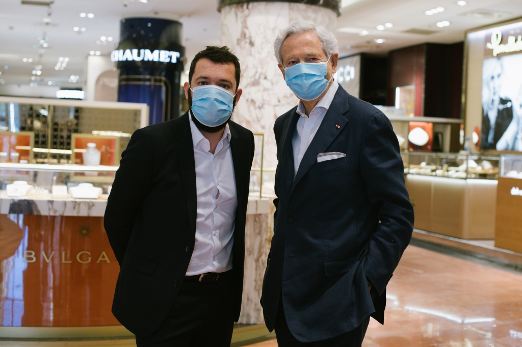 Alexandre Liot and Philippe Houzé at the Galeries Lafayette flagship on Boulevard Haussmann in Paris.