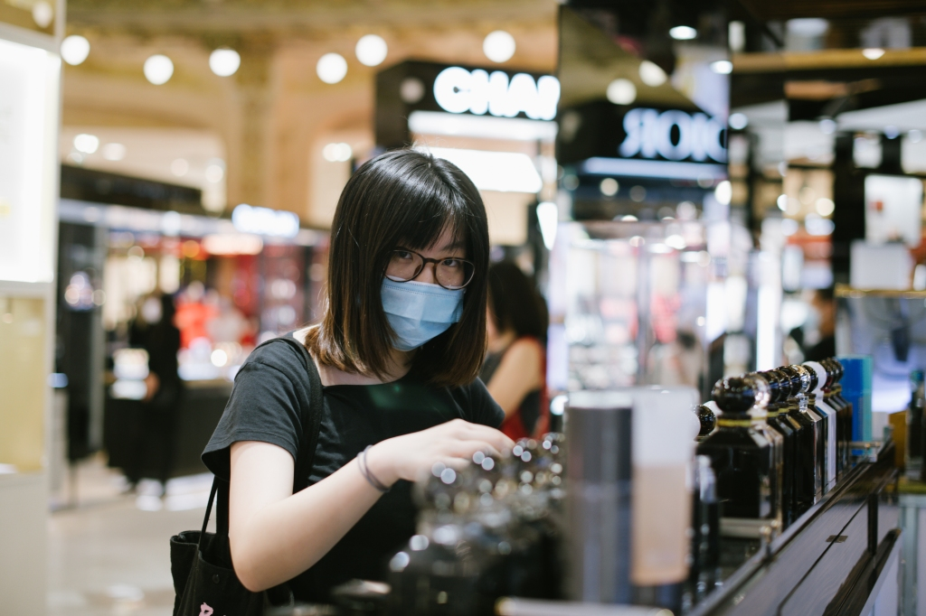 Chinese student Rui Jiang at the Galeries Lafayette flagship on Boulevard Haussmann in Paris.