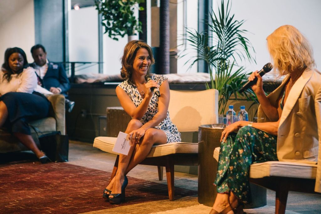 Liz Bacelar hosting Innovators, a podcast in its fourth season.