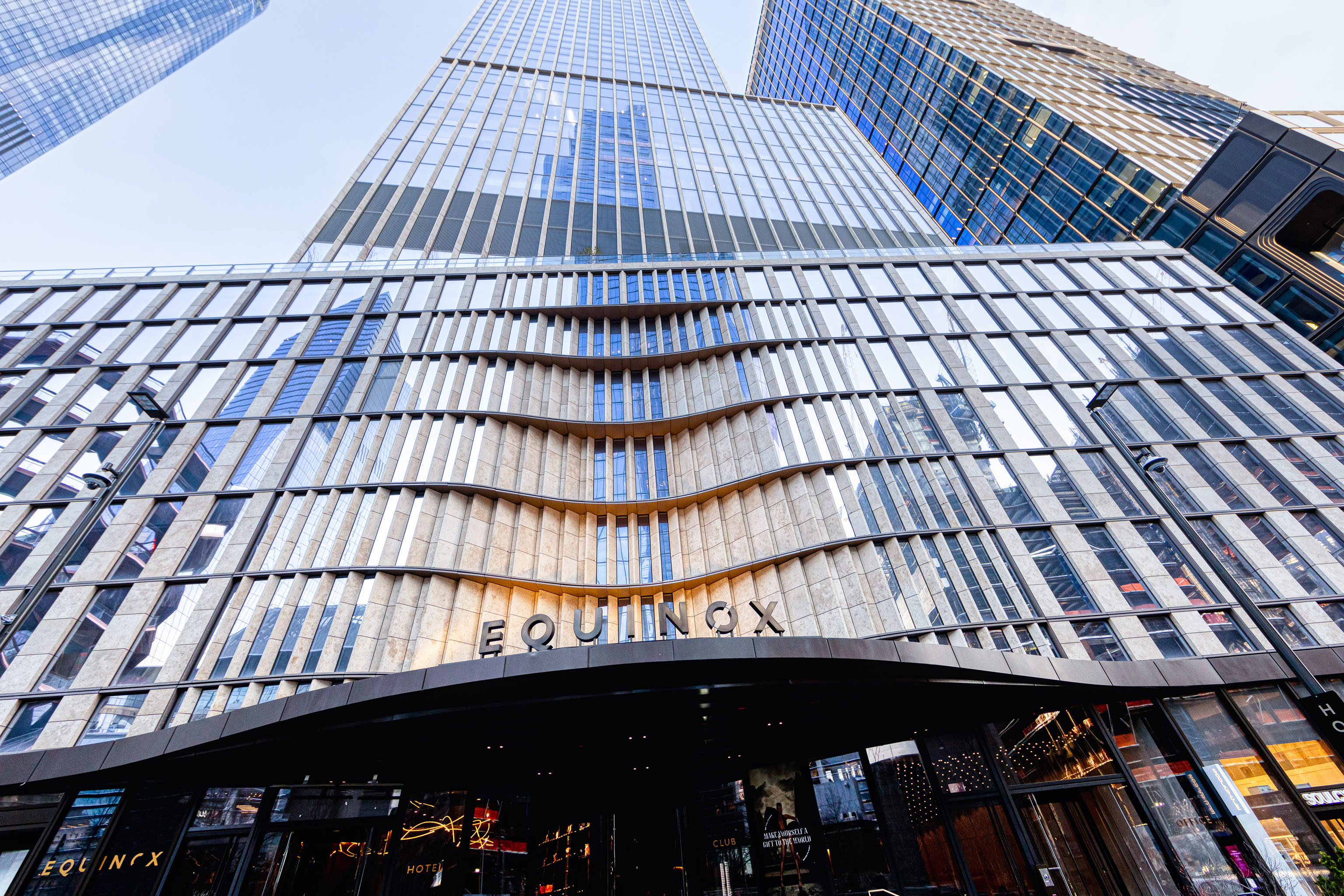 The exterior of the entrance to Equinox's Hudson Yards club.