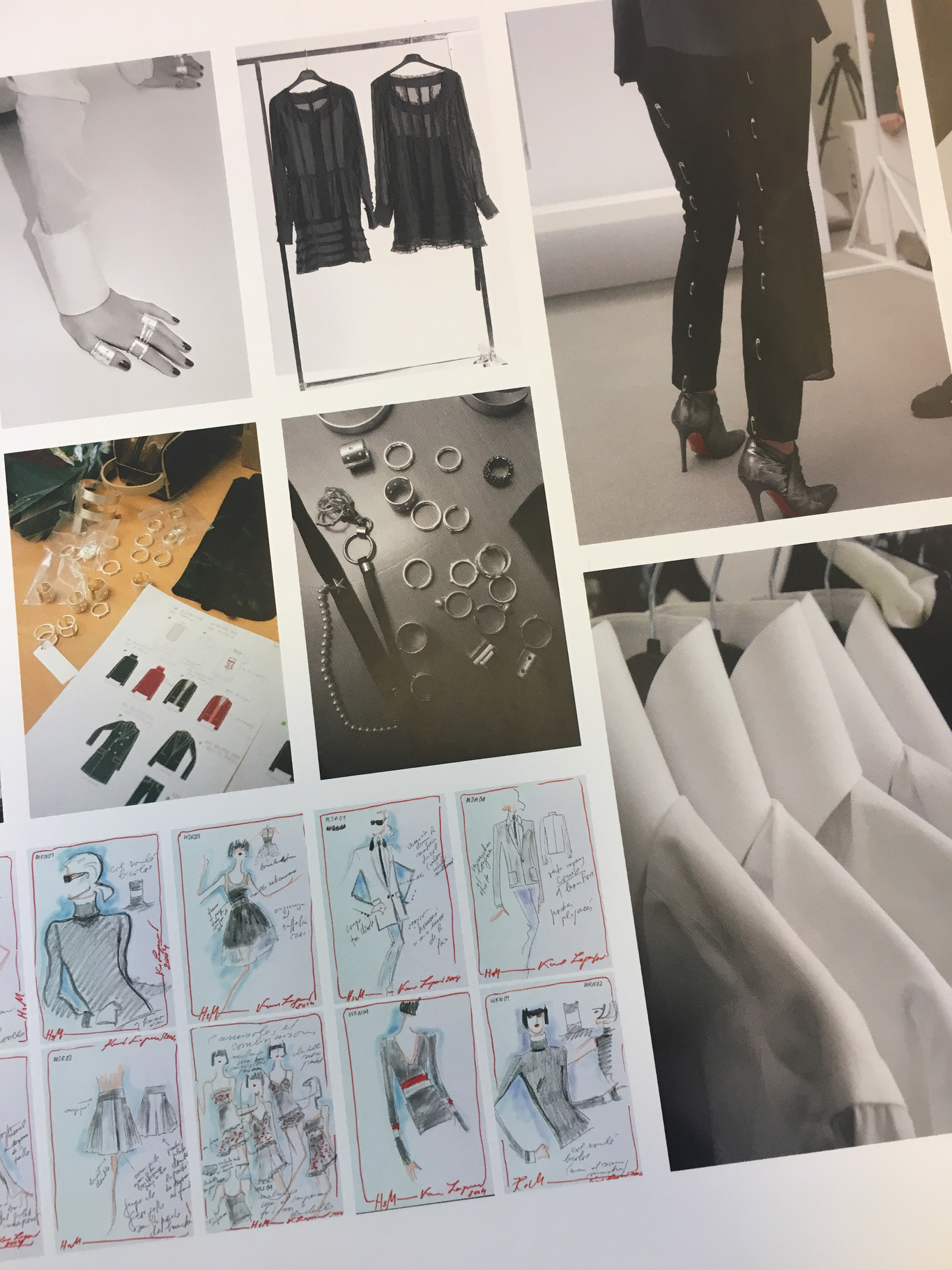 Karl Lagerfeld's sketches for the H&M collection