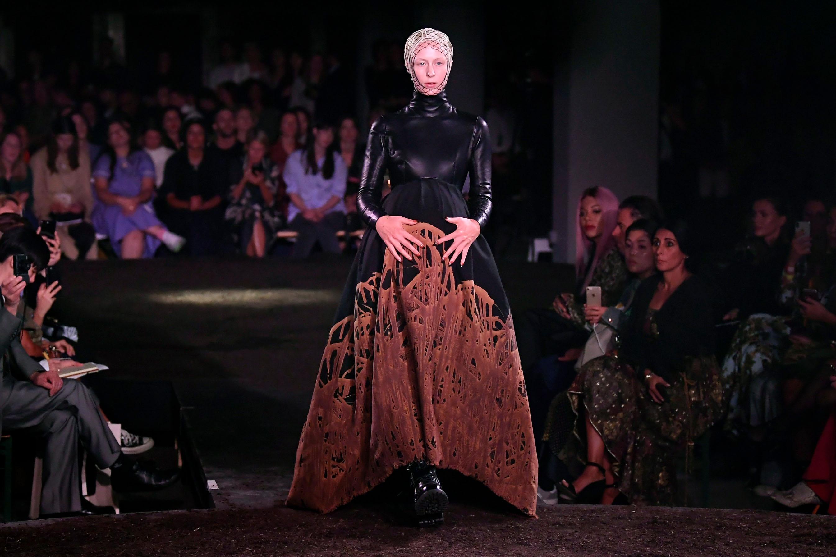 Model on the catwalkGareth Pugh show, Runway, Spring Summer 2019, London Fashion Week, UK - 15 Sep 2018