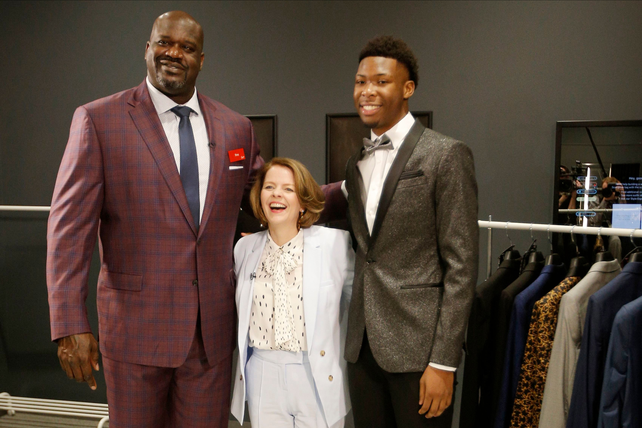 Shaquille O'Neal, Jill Soltau and Oak Cliff High School student-athlete Kylon Owens in Hurst, Texas. Penney's has a Shaquille O'Neal men's line.